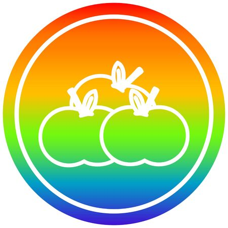 pile of apples circular icon with rainbow gradient finish