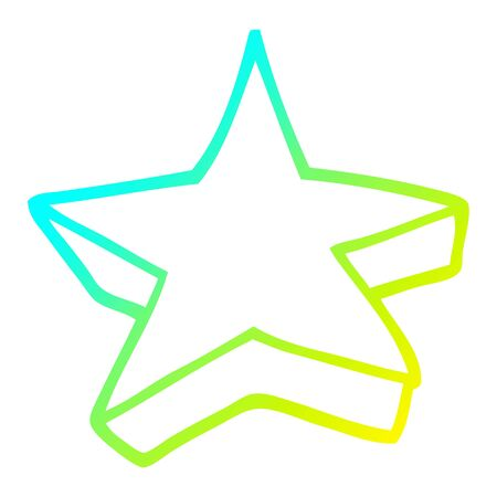 cold gradient line drawing of a cartoon shooting star