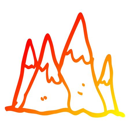 warm gradient line drawing of a cartoon mountain range