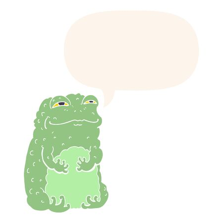 cartoon smug toad with speech bubble in retro style