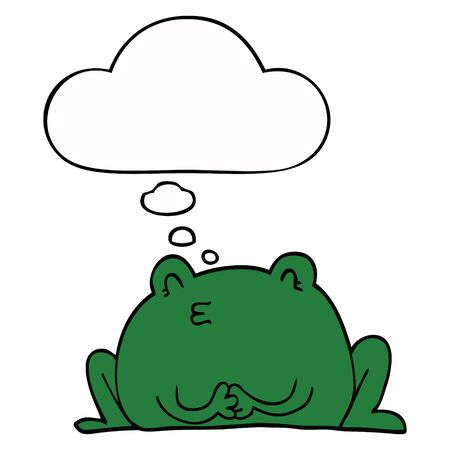 cute cartoon frog with thought bubble