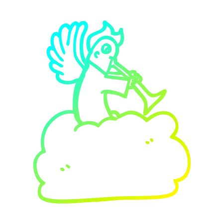 cold gradient line drawing of a cartoon angel on cloud with trumpet  イラスト・ベクター素材