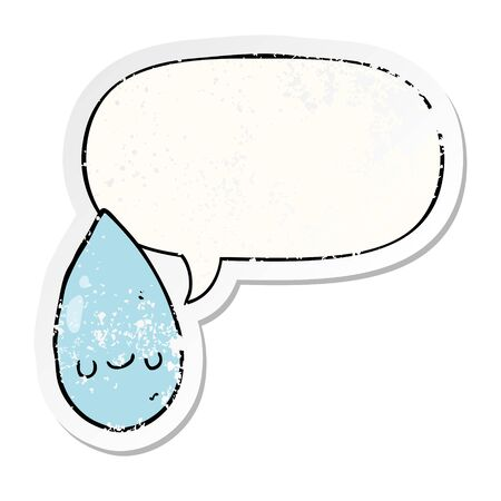 cartoon cute raindrop with speech bubble distressed distressed old sticker