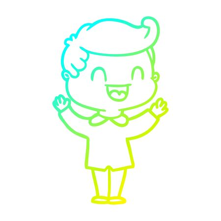 cold gradient line drawing of a cartoon happy man