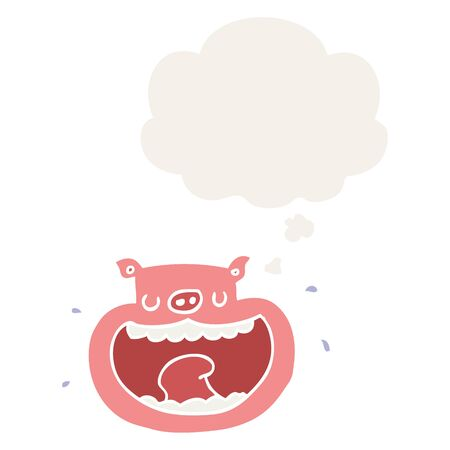 cartoon obnoxious pig with thought bubble in retro style