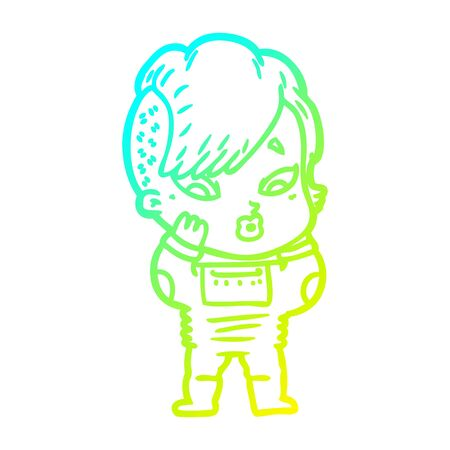 cold gradient line drawing of a cartoon surprised girl in science fiction clothes