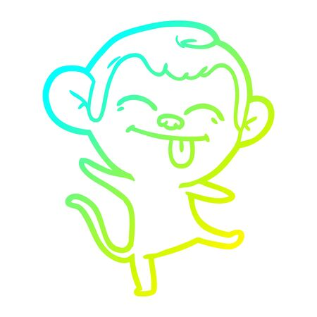 cold gradient line drawing of a funny cartoon monkey dancing
