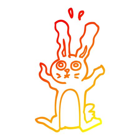 warm gradient line drawing of a cartoon frightened bunny