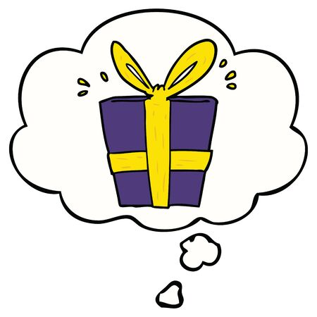 cartoon wrapped gift with thought bubble