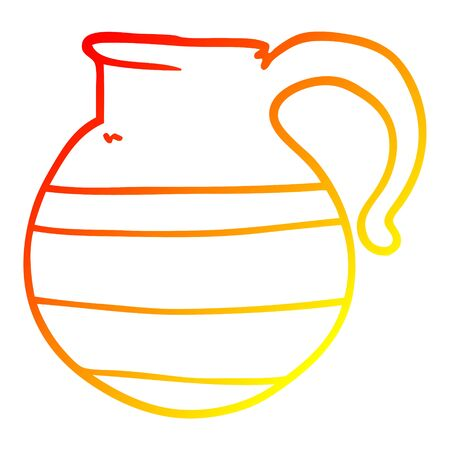 warm gradient line drawing of a cartoon jug  イラスト・ベクター素材