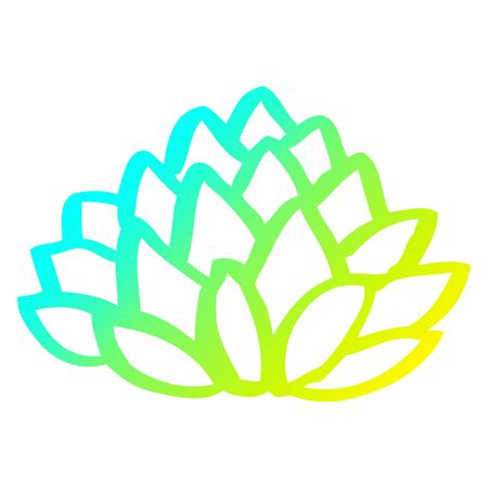 cold gradient line drawing of a cartoon flowering lotus Illusztráció