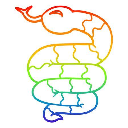 rainbow gradient line drawing of a cartoon snake Stock Illustratie