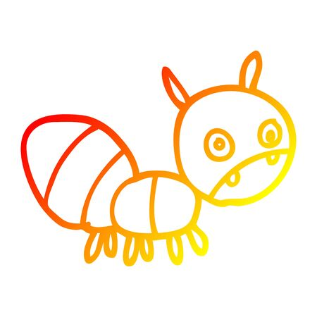 warm gradient line drawing of a cartoon anxious ant