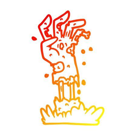 warm gradient line drawing of a spooky zombie hand cartoon Иллюстрация