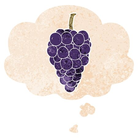 cartoon grapes with thought bubble in grunge distressed retro textured style Ilustracja