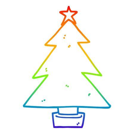 rainbow gradient line drawing of a cartoon christmas tree