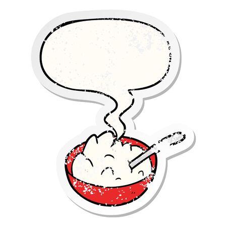 cartoon bowl of porridge with speech bubble distressed distressed old sticker Ilustração