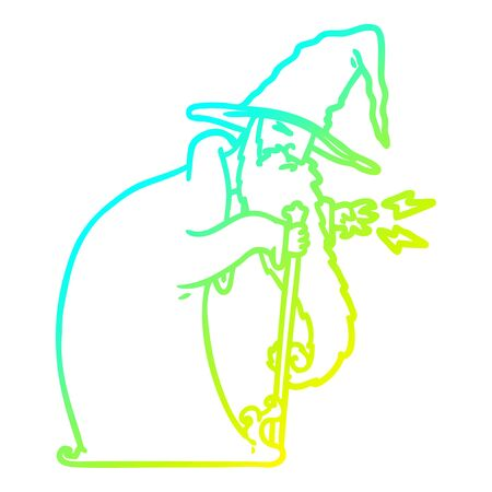 cold gradient line drawing of a cartoon wizard