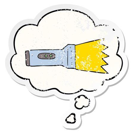 cartoon torch with thought bubble as a distressed worn sticker Illusztráció