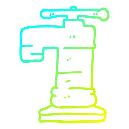 cold gradient line drawing of a cartoon gold plated faucet