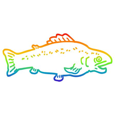 rainbow gradient line drawing of a cartoon large fish
