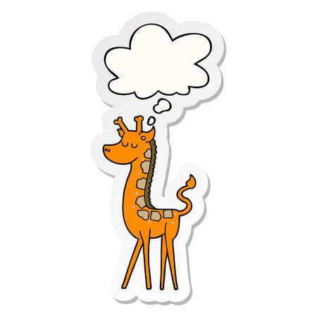 cartoon giraffe with thought bubble as a printed sticker  イラスト・ベクター素材