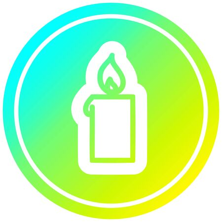 burning candle circular icon with cool gradient finish Çizim