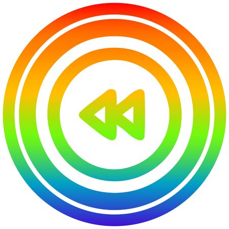 rewind button circular icon with rainbow gradient finish