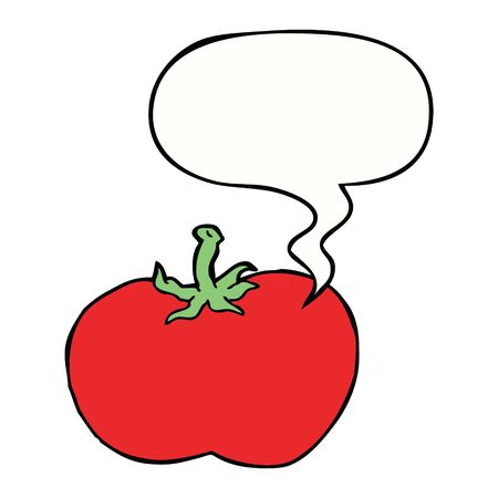 cartoon tomato with speech bubble