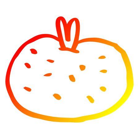 warm gradient line drawing of a cartoon organic orange