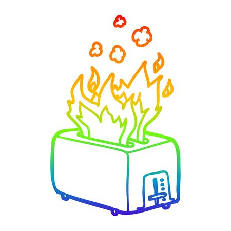 rainbow gradient line drawing of a cartoon burning toaster