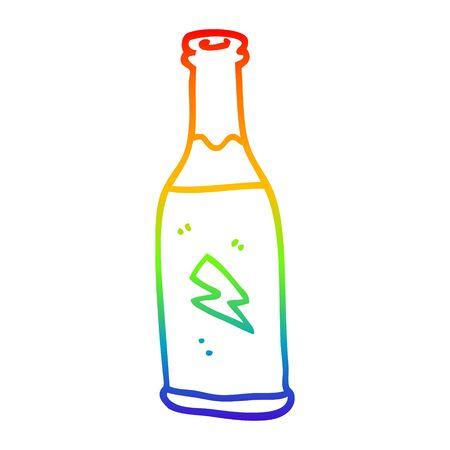 Dibujo de la línea de gradiente de arco iris de una bebida barata de dibujos animados Ilustración de vector