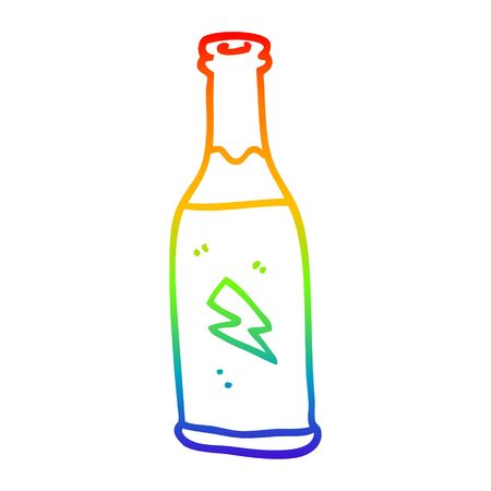rainbow gradient line drawing of a cartoon cheap drink