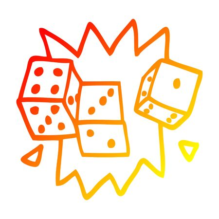 warm gradient line drawing of a cartoon lucky dice Ilustrace