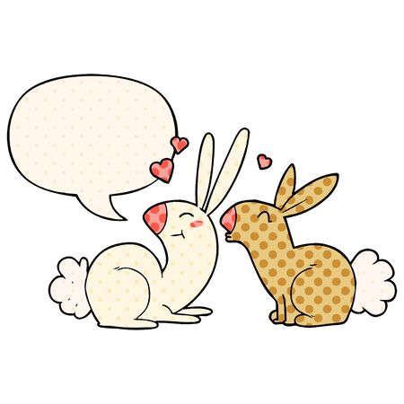 cartoon rabbits in love with speech bubble in comic book style