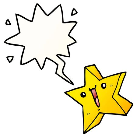 cartoon happy star with speech bubble in smooth gradient style