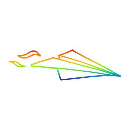rainbow gradient line drawing of a cartoon paper airplane