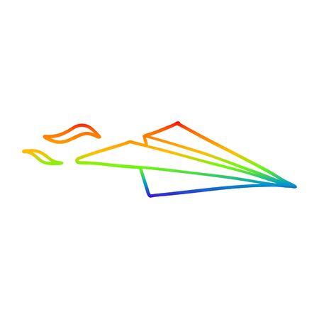 rainbow gradient line drawing of a cartoon paper airplane Foto de archivo - 129355706