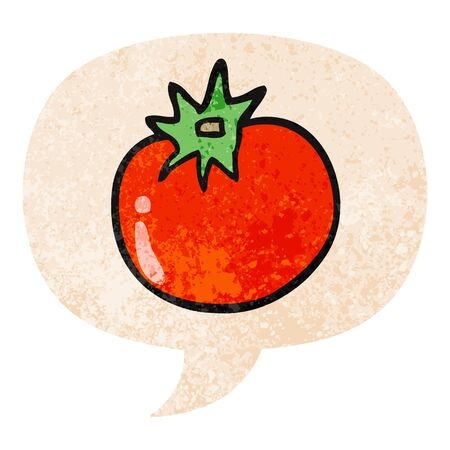 cartoon tomato with speech bubble in grunge distressed retro textured style