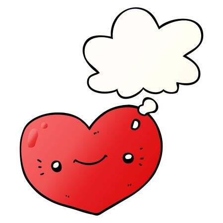 heart cartoon character with thought bubble in smooth gradient style