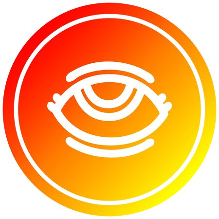eye with warm gradient finish circular icon with warm gradient finish