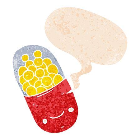 cartoon pill with speech bubble in grunge distressed retro textured style Ilustração