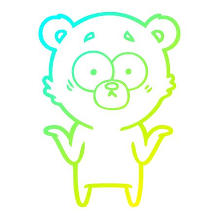 cold gradient line drawing of a cartoon bear shrugging shoulders