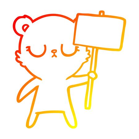 warm gradient line drawing of a peaceful cartoon bear cub with protest sign  イラスト・ベクター素材