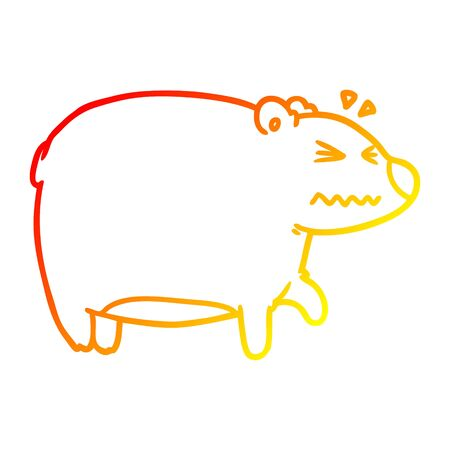 warm gradient line drawing of a cartoon bear with a sore head