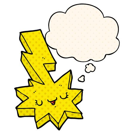 cartoon lightning strike with thought bubble in comic book style