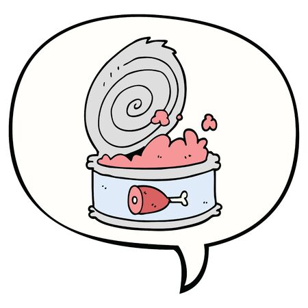 cartoon canned food with speech bubble Ilustração