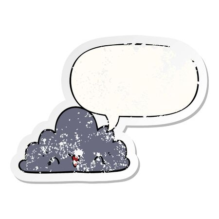 cute cartoon cloud with speech bubble distressed distressed old sticker