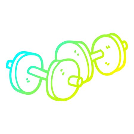cold gradient line drawing of a cartoon pair of dumbbells  イラスト・ベクター素材