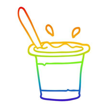 rainbow gradient line drawing of a cartoon yogurt